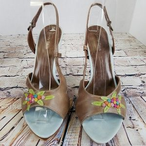Cindy Says Brown Leather Stiletto Sandal EUC 9